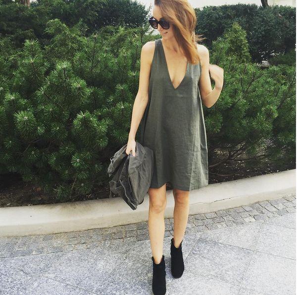 KHAKI LINEN SUMMER DRESS WITH V-NECK | In Stock | Everything basic @ theodderside.com