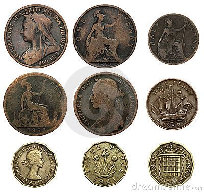 "Old UK coins - one penny, half penny (or ha' - pronounced ""hey"" - penny) and three pence (or ""thruppenny bit"")."