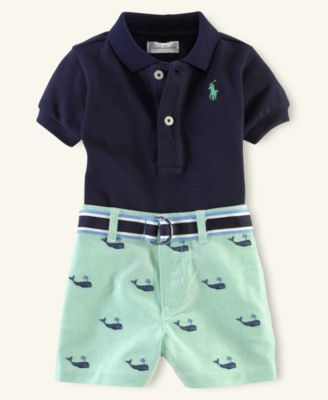 Ralph Lauren Baby Set, Baby Boys Polo and Schiffli Shorts