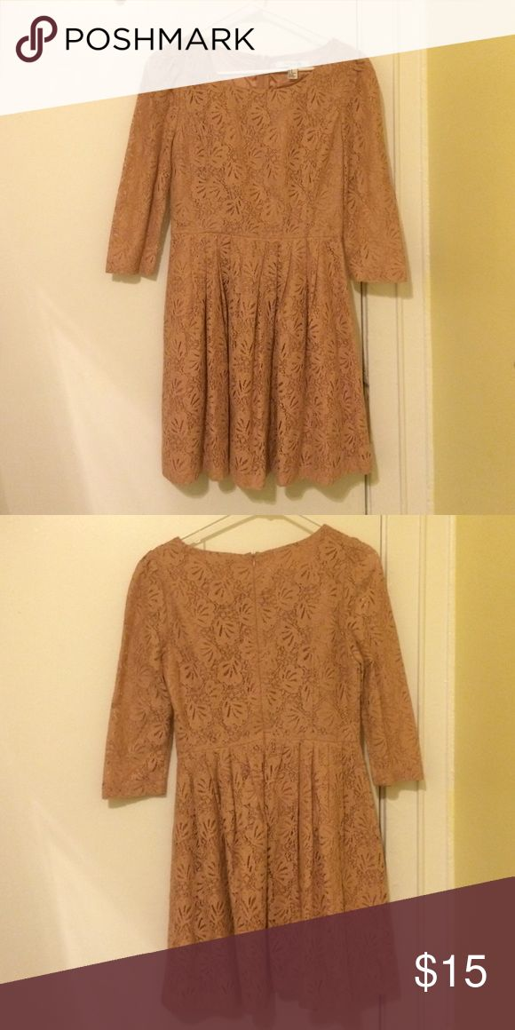 Tan lace dress Cute lace dress for formal and casual wear! Worn once. Forever 21 Dresses Midi