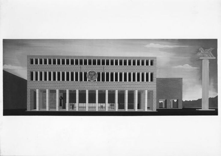 Giuseppe Vaccaro - vaccaro_documenti_13 13/17 Giuseppe Vaccaro Scuola d'Ingegneria di Bologna, 1931-1935, Primo progetto foto Vasari-Roma, 16,3x26,2 cm.
