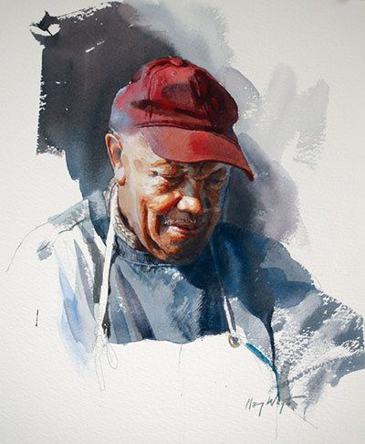 Obediah by Mary Whyte, watercolor painting.