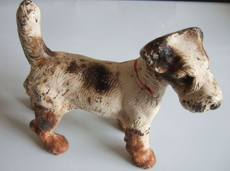 Antique 1930s Original Hubley Cast Iron Fox Terrier Dog
