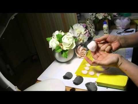 Роза Холодный фарфор Mастер Класс от Риты - YouTube