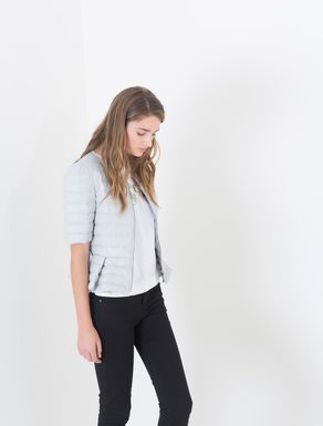 Short-sleeve coat with belt