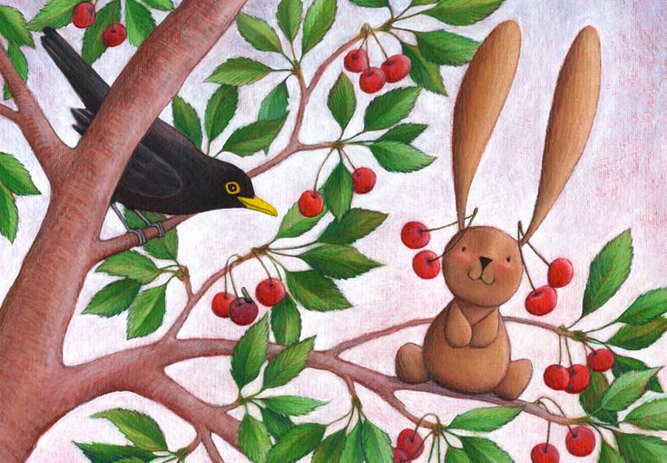 On the cherry tree with the blackbird...  Illustration from Ciacio in campagna (Ciacio in the countryside), Sarah Khoury, 2016