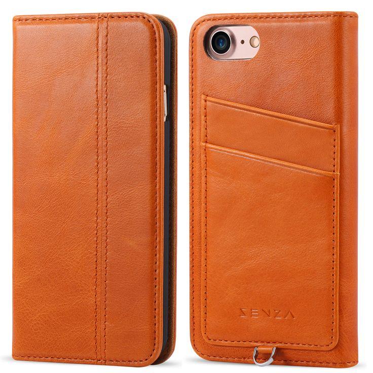 CaseFamily iPhone 7 レザーケース アップル携帯ケース (硬度 9H 液晶保護 強化 ガラスフィルム) 高級牛革 手帳型ケース マグネット式 収納ホルダー アイフォン 7 4.7インチ 【ブラウン】