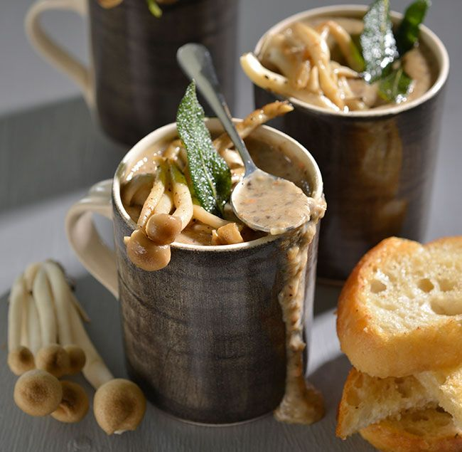 A delicious, affordable soup with mushrooms and cream. Serve with a crispy ciabatta.