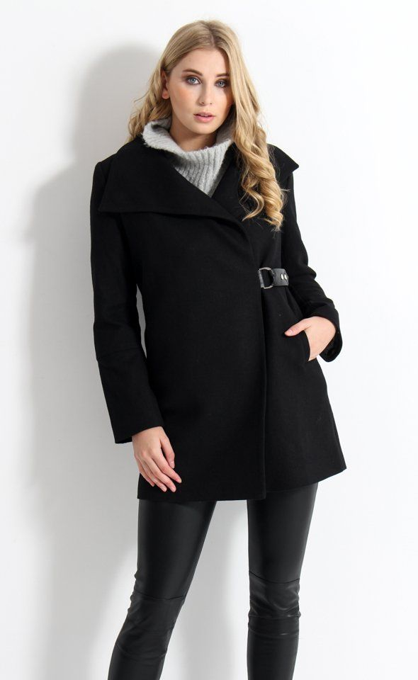 Clean and classic lines, combined with modern detailing, are utilised to create this beautifully sophisticated coat. The shawl collar and wrap-across front keep you feeling cosy and chic, while the leather look D-ring belt and panelled sleeves add an edge of new-season luxe.
