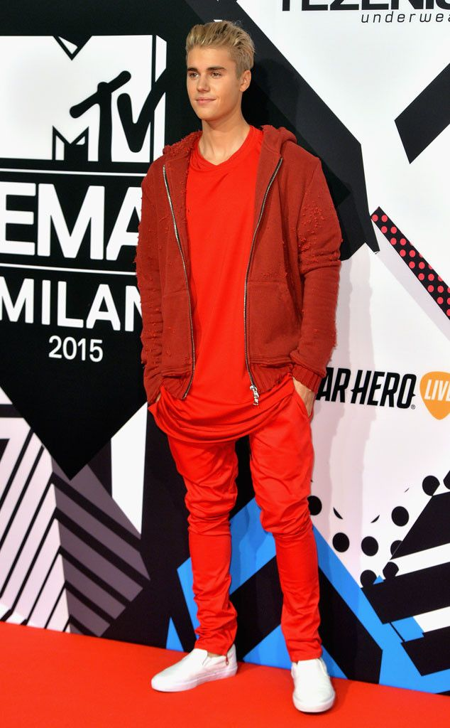 Justin Bieber from 2015 MTV EMAs Red Carpet Arrivals  The Biebs makes a splashy style statement in an all-red getup.