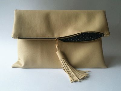 leather clutch bag with tassles, make a handmade bag with allaboutyou.com