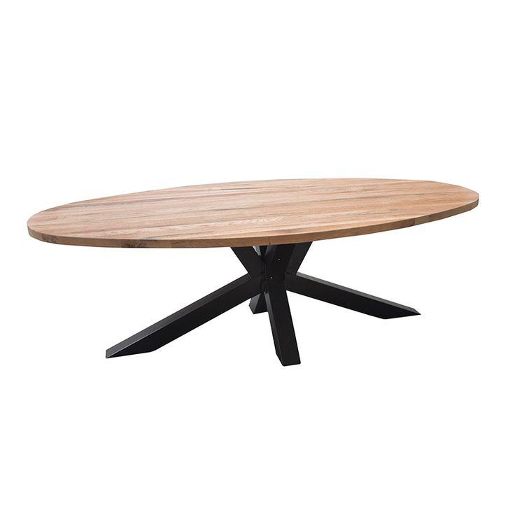 De Andros ovale tafel eiken spinpoot kruispoot staal, is vervaardigd met een massief Europees eiken blad, en stalen spinpoot/kruispoot.