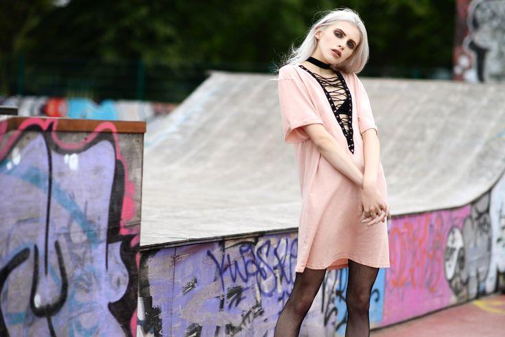 • Lace up front t-shirt dress •