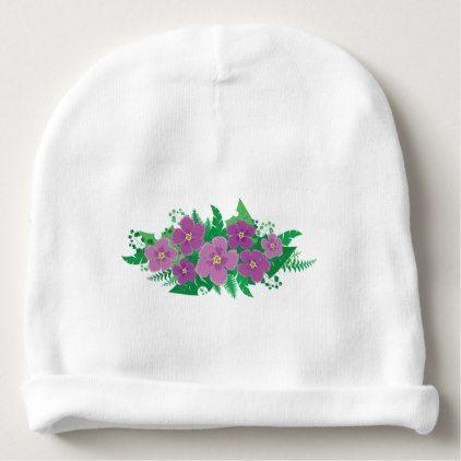 Purple Hibiscus Baby Beanie  $10.95  by ThePassanger  - custom gift idea