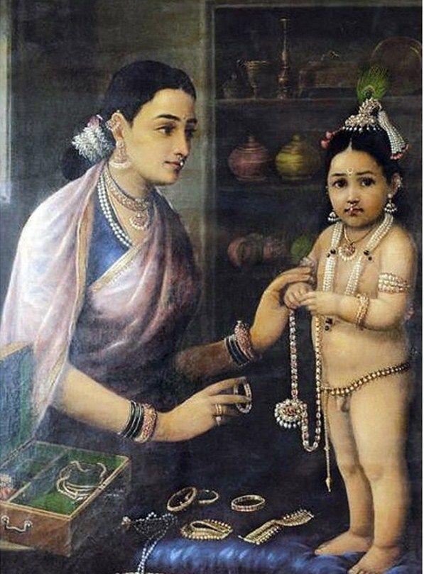 Yashoda | teachartwiki - Yashoda Adorning Krishna--Raja Ravi Varma