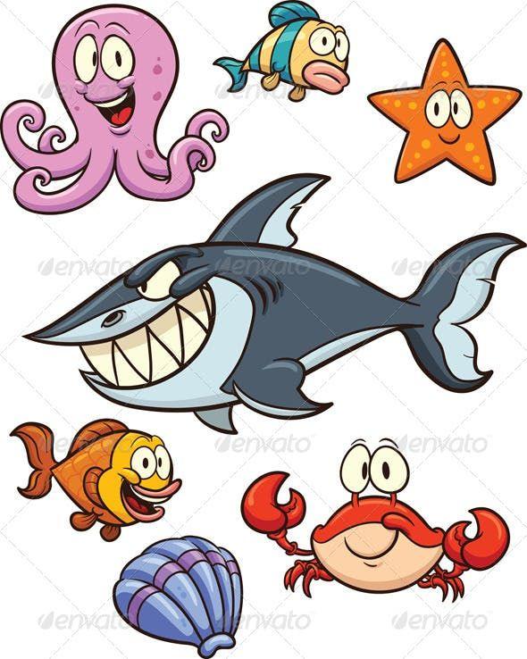 Sea Creatures Sea Creatures Drawing Cartoon Sea Animals Sea Creatures