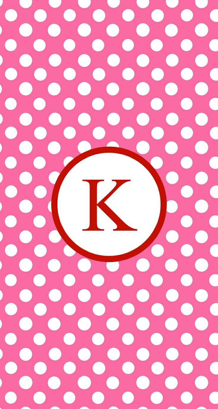 Pink red dots K monogram wallpaper