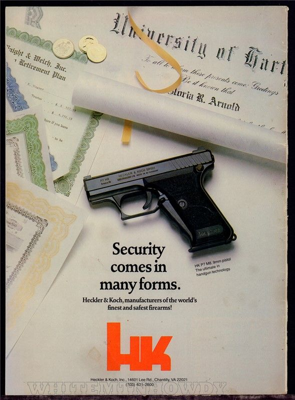 1987 HECKLER & KOCH HK P7 M8 9mm Pistol PRINT AD : Other Collectibles at GunBroker.com