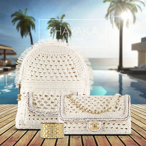 Chanel Backpack in White Crochet Braid and Gold Hardware | 36 x 28 x 18 cm | Chanel Cuba Cruise 2017 Collection | Available Now Chanel Classic Flap Bag in White Crochet Braid and Gold Hardware | 16 x 28 x 6 cm | Chanel Cuba Cruise 2017 Collection | Available Now For purchase inquiries, please contact sales@shayyaka.com or +961 71 594 777 (SMS, WhatsApp, or iMessage) or Direct Message on Instagram (@Shayyaka) Guaranteed 100% Authentic | Worldwide Shipping | Bank Transfer or Credit Card