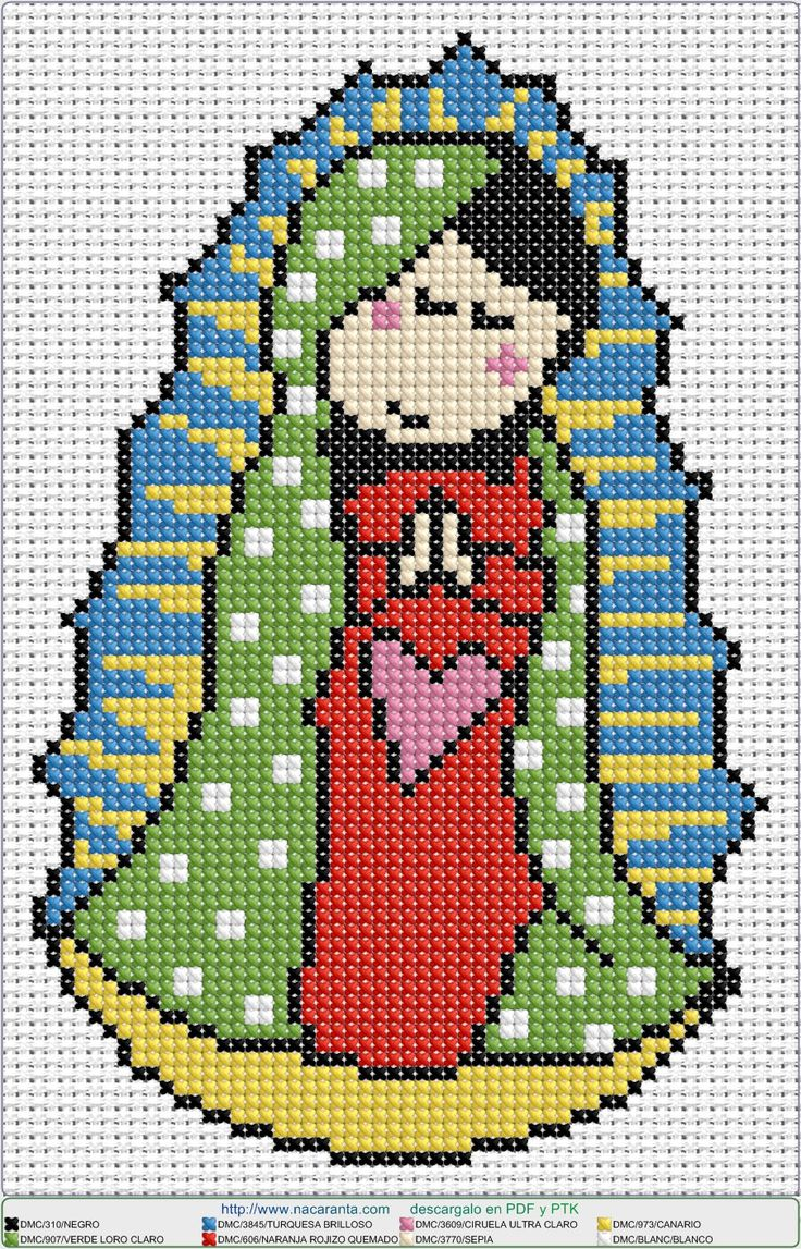 virgen guadalupe en punto de cruz. Cross stitch patterns