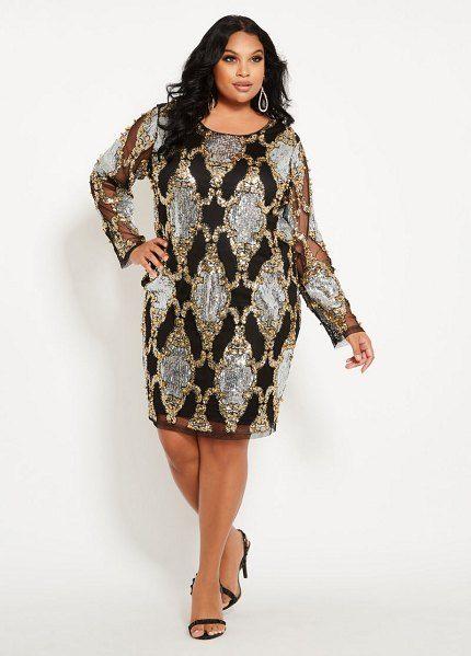 c405f750b9 Ashley Stewart mirror pattern sequin dress.  ashleystewart  plussize   plussizefashion
