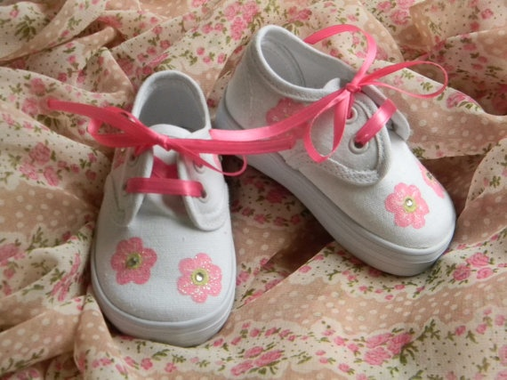 Spring Pink Glitter Flowers Toddler Shoes with by sweetfeetbybrit, $32.00