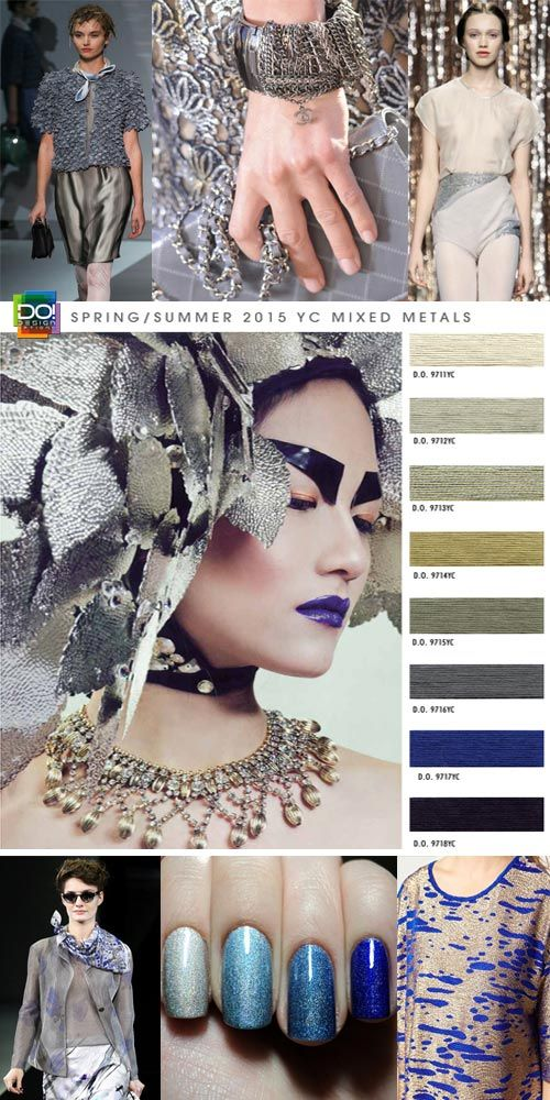 "Spring / Summer 2015, Women's Contemporary Color Trends by Design Options. ""Mixed Metals""  Electric blue and desert sand shades of metallic infusions and synthesized minerals give multi-faceted essentials state of the art allure. Bold metal statements radiate with dynamic brilliance. Entwined golden and silver streaks resonate vividly upon scenery of expressive solitude."