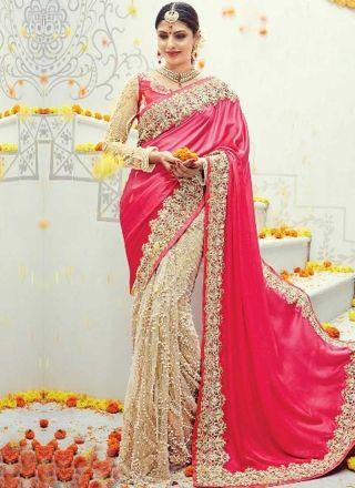 Pink Beige Embroidery Moti Work Net Satin Silk Designer Wedding Half Sarees http://www.angelnx.com/Sarees/Wedding-Sarees