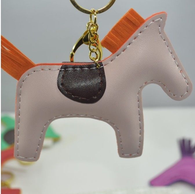 Handmade Faux Leather horse KeyChains women's handbag charms promotional gifts #Handmade