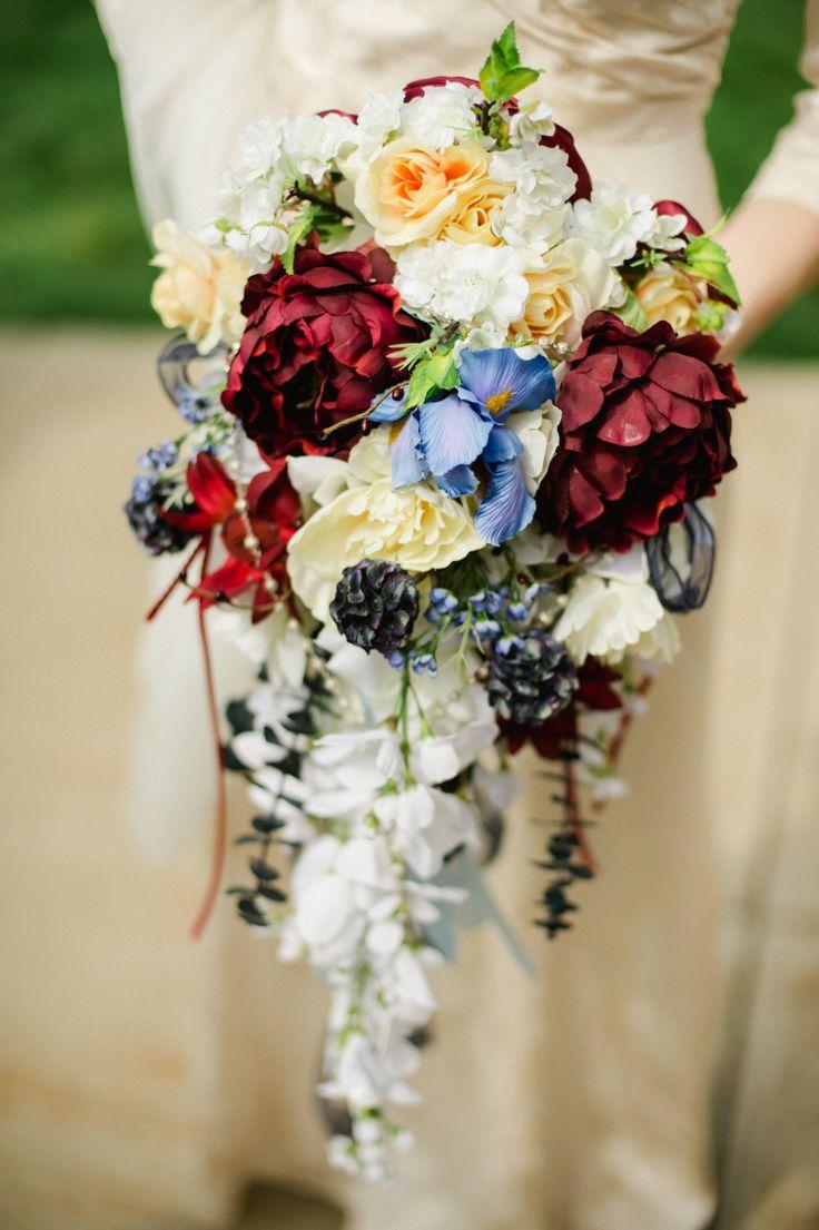 DIY silk cascading bouquet - Different colors, different