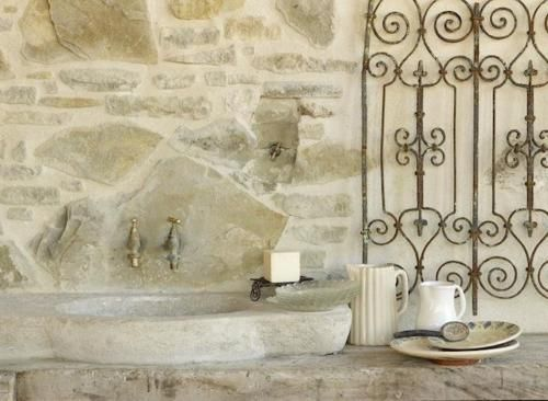 rrantiques:    Very Unique ❖ House La France {Rental}❖ via RemodelistaWall Decor, Stones Wall, Country Home, Outdoor Bath, House, Bathroom, Outdoor Sinks, France Rental, Kitchens Sinks