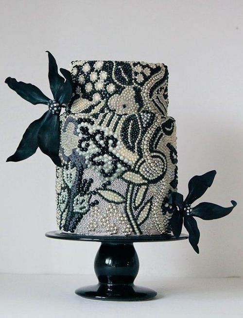 [TOGETHERNESS IN LOVE wedding invitation inspiration] beaded wedding cake with flower accents, via Brides. #blackandwhite