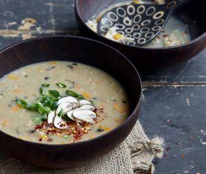 Mushroom Ginger Steel-Cut Oat Congee Recipe - Healthy Slow Cooking