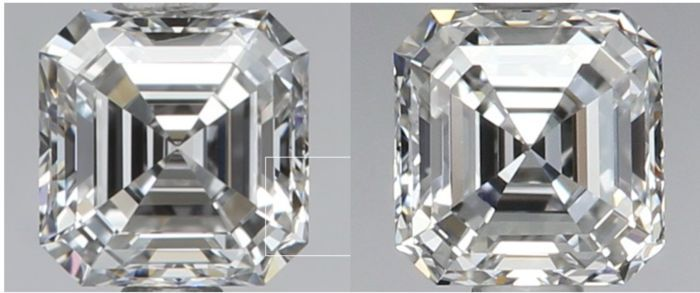 076 ct totaalgewicht - Paar vierkante smaragd diamanten - Beiden D VVS1 met GIA  Shape : Square Emerald cut Weight :0.37-0.39 ct 0.76 ct Total weight Color :D Clarity :VVS1 POLISH:EX-EX SYMMETRY:VG-VG Depth:66.3-66.5 Table: 62-61 Measurements:4.16 x 4.07 x 2.67 mm-4.16 x 4.06 x 2.69 mm none Fluorescence Certificate: Gia Identical Diamonds!! OUR DIAMONDS ALWAYS SPARKLE !!! We Don't Sale BGM!!! - brown milky or green Diamonds!! full insurance on shipping. GIA laser inscribed AMAZING PAIR…