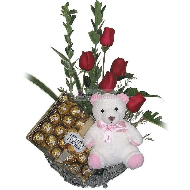 5 China Rose With Chocolate  Price:  US$89.99  5 - China Roses-1 - 24 x Ferrero Rocher Chocolates,1 - TEDDY BEAR. Birthday Chocolate Delivery to Thailand.