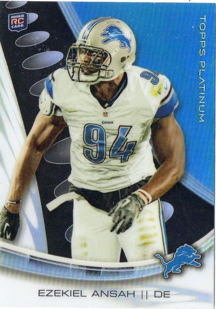 2013 Topps Platinum Ezekiel Ansah Black Refractor Rookie Card Detroit Lions #DetroitLions