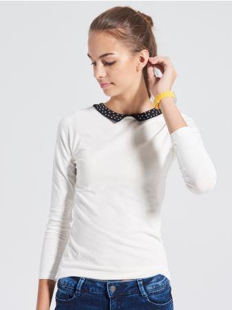 SINSAY - Bluzka z kołnierzem <br><br>Wzrost modelki: 180 cm<br>Rozmiar produktu: S