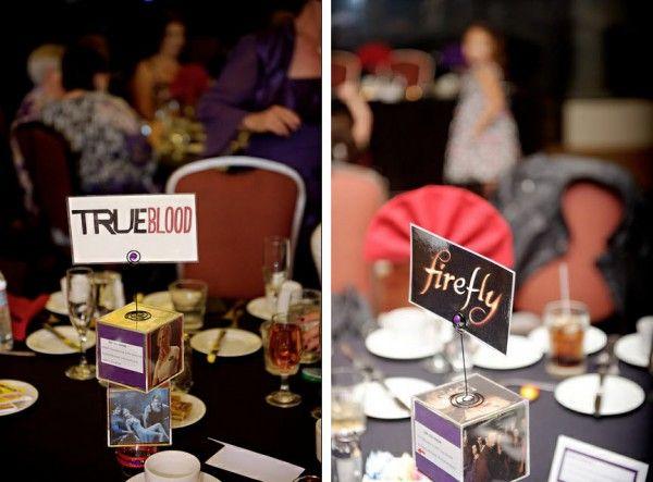 Amber & Trey's nerdy love pop culture wedding   Offbeat Bride --- Fun looking wedding!: Centerpiece, Pop Culture, Trey S Nerdy, Amber, Bride, Nerd Wedding Ideas, Culture Wedding, Nerdy Wedding Ideas