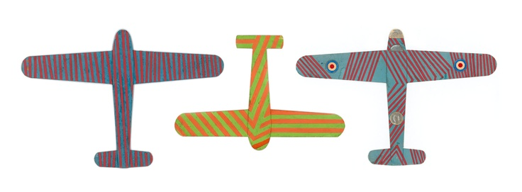 Frank Hinder, three cardboard model planes painted in dazzle. Canberra, AWM, Hinder Personal Records. Taken from, Camouflage Australia: art, nature, science and war by Ann Elias