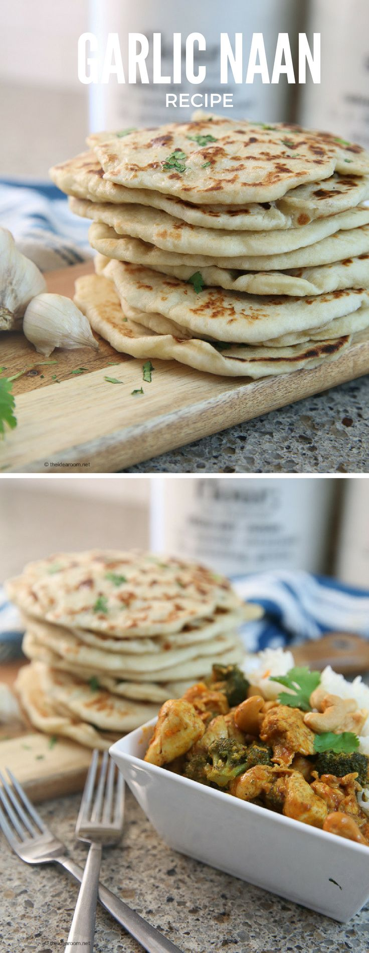 Learn how to make this Garlic Naan Bread on the stove or in the oven. A delicious and garlic-ky addition to your indian dinner.