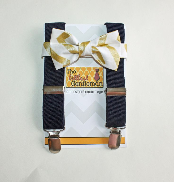 Boys Gold bow tie and suspenders set, gold navy suspenders set, baby boy suspenders, wedding bow tie set, Gold Wedding, Ring Bearer by TheLittlestGentleman on Etsy https://www.etsy.com/listing/210286412/boys-gold-bow-tie-and-suspenders-set