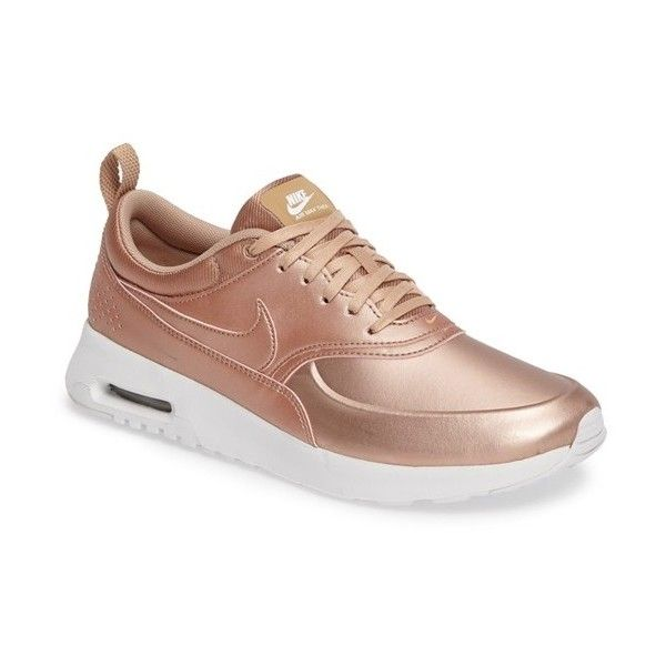 Women's Nike Air Max Thea Se Sneaker ($115) ❤ liked on Polyvore featuring shoes, sneakers, metallic bronze, perforated shoes, nike sneakers, nike trainers, breathable sneakers and nike footwear