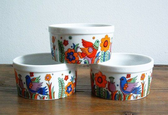 10 Colorful and Fun Ramekins- for the inner hippie in you (then again I live less than 6 blocks from Haight-Ashbury)... Royal Crown Paradise ramekins porcelain ovenware 3 for $15  http://www.apartmenttherapy.com/10-colorful-rambunctious-ramek-132839