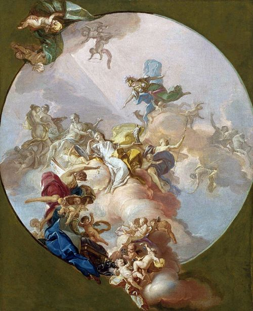 Giacinto Diano (1731-1803): Allegory of Peace, a preparatory study for a ceiling. 18th century.