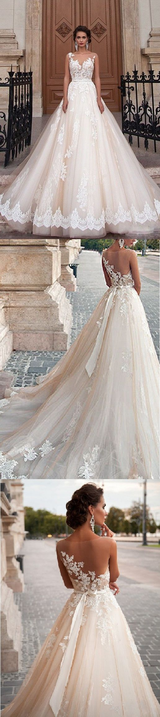vintage illusion neckline long a-line/princess lace overlay tulle wedding dress with sash