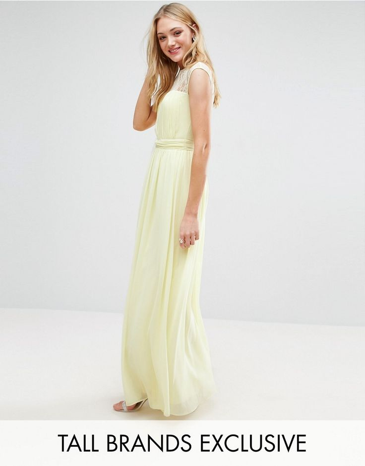 Little Mistress Tall Scallop Lace Top Pleated Maxi Dress - Yellow