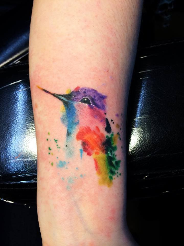 Watercolor Hummingbird by KC Lange @ Old Gold Tattoo in Bellingham, WA