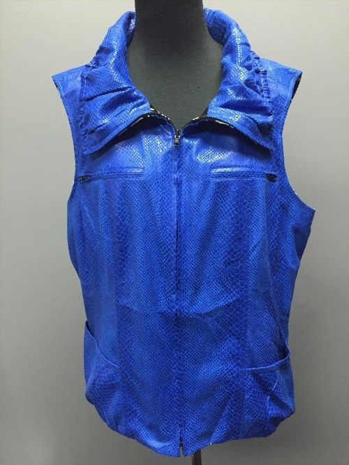 54.45$  Buy now - http://viten.justgood.pw/vig/item.php?t=uv5bsoh4293 - SHARON YOUNG NWT Blue Snakeskin Reversible Graphic Print Poly Vest S XL SMA10297 54.45$