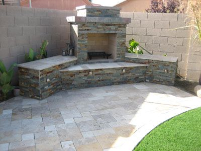 outdoor fireplace and outdoor kitchen design plans by backyard - Patio Fireplace Designs