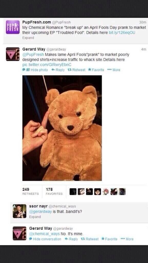No, the teddy belongs to Gerard.